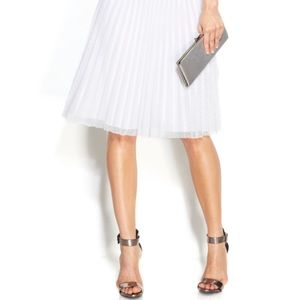 Calvin Klein- Pleated A Line Midi- White Mesh